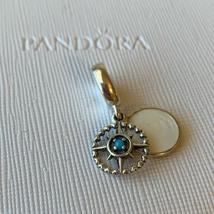PANDORA BLUE COMPASS ROSE DANGLE CHARM SILVER